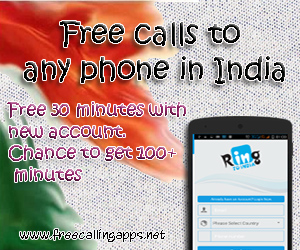 30 minutes free calls to India  - Free calling apps